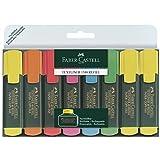 Faber-Castell 154862 - Textmarker TEXTLINER 48 Promo, 1-5 mm, 8er Etui, Inhalt: 3x gelb, je 1x grün, orange, rosa, blau, rot
