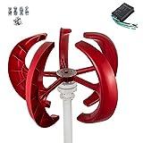 Buoqua windgenerator 300 Watt Wind Generator 12v Wind Turbine Generator 300w mit 5 Rotorblättern Red Lantern mit Laderegler für Power Supplementation
