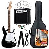 Rocktile Banger's Pack Komplettset E-Gitarre Schwarz (Verstärker, Tremolo, Tasche, Kabel, Gurt, Plecs, Ersatzsaiten und Schule mit CD/DVD)