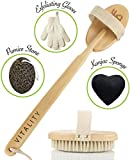 Körperpflege Set mit Trockenbürste, Peeling Handschuhe, Konjac Gesichtsschwamm und Bimsstein für natürliche Hautpflege, Körperbürste mit Naturborsten