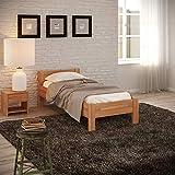 Krokwood Seniorenbett SiSi Massivholzbett in Buche in Komforthöhe FSC 100% Massiv Einzelbett, Natur geölt Buchebett, günstig Holzbett mit Kopfteil, massivholz Bett vom Hersteller (90 x 200 cm)