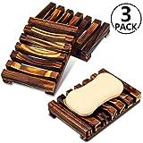 PAMIYO Seifenschale Holz Dusche 3 Stück, Seifenhalter Handarbeit Seifenschale für Küche,Natürliche Bambus Seifenkiste,Bad Waschbecken Deck Seifenhalterung