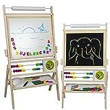 Standkindertafel mit Abakus und Zubehör, 97x52cm Magnettafel Kindertafel Abakus Standtafel Schultafel Maltafel