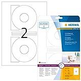 Herma 5079 CD-Etiketten blickdicht (ؘ 116 mm, Innenloch groß, auf DIN A4 Papier matt, weiß) 50 Stück auf 25 Blatt, Zentrierhilfe, bedruckbar