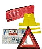 3in1 KFZ Trio Kombitasche Verbandstasche + Warnweste + Warndreieck Erste Hilfe Set nach NEUE DIN 13164-2014 Sanitätstasche