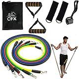 CFX Resistance Bands Widerstandsband Set,Expander Bänder Band Tubes Fitnessbänder-Set mit 5 Fitnessgummi Schläuchen 2 x Griffen 1 x Türrahmenbefestigung 2 x Fußbefestigung 1 x Aufbewahrungsbeutel
