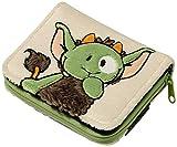 NICI 37650 - Geldbeutel Monster Jipii Plüsch, 12 x 9.5 cm, grün/braun