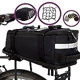 BTR Deluxe wasserabweisende Fahrradtasche für den Gepäckträger – schwarz - mit integriertem Schultergurt, Reflektoren, Cargo-Netz & Regenschutz. Schützen Sie ALL Ihre Wertsachen vor Regen – Passend für ALLE Fahrrad-Gepäckträger