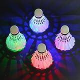 LED Badminton, Rixow Federbälle Beleuchtun,Federball Shuttlecock für Outdoor en Indoor Sportsaktivitäten,4 Stück(4 Farben)
