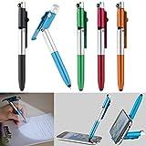 PEARL Kugelschreiber mit Licht: 4in1-Kugelschreiber mit LED-Lampe, Touchpen und Handy-Ständer, 5er-Set (Kugelschreiber mit Licht und Touchpen)
