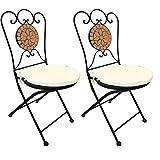 2x Dekorativer Mosaik Klappstuhl Terrakotta Mosaikstuhl Gartenstuhl mit Stuhlpolster beige für In- und Outdoor