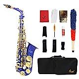 ammoon LADE gravierte Eb EB Alt-Saxophon Sax Abalone Shell Tasten Blechblasinstrument mit RS Handschuhe Tuch Fett Gürtel Reinigungsbürste