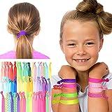 GESCHENKE FÜR MÄDCHEN, HAARGUMMIS: 50 farbige, elastische Haargummis, Zopfgummis, Haaraccessoires für Mädchen in tollen Farben und Mustern. Idealer Haarschmuck für Mädchen