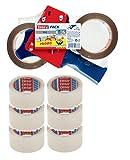 tesapack Packband-Abroller / Handabroller für Paketband / 2 x reißfestes Klebeband extra stark in Braun + 6x Klebeband in klar / 660 cm x 50 mm