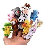 SYOO 10 x Klein Tierfiguren Fingerpuppe Samt Handpuppe, Plüschfigur Spielzeug Props für Geburtstag Kinder Party Taufe Babyparty Mitbringsel Geschenk