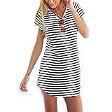 Elecenty Damen Hemdkleid T-Shirt Blusekleid T-Shirtkleid Sommerkleid Kleider Frauen Rundhals Kurzarm Mode Kleid Minikleid Kleidung (M, Weiß)