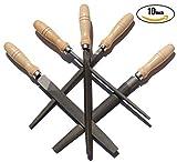 ACCOCO Feilen-Set Feilensatz mit Holzgriffen 250mm , 5-teilig