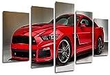Wandbild - Bild Auto Mustang rot, 165x 62 cm, Holzdruck - XXL Format - Kunstdruck, 26331