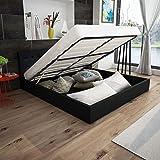 cangzhoushopping Kunstleder-Bett mit Gasdruckfeder-Bettkasten 180 cm Schwarz Möbel Betten Zubehör Betten Bettgestelle