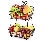 Oakome Obst Etagere 2 Tier Obstschalen Brotkorb Metall Obst Racks Halter Detractile Stahlrahmen Fruchtracks(Schwarz)