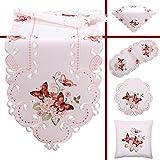 Quinnyshop Rosa Schmetterlinge Stickerei Frühling Tischdecke Deckchen ca. 40 cm Rund Polyester, Weiß