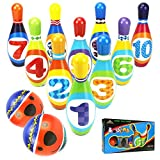 YIMORE Kinder Bowling Set Kegelspiel Spiel mit 10 Kegel und 2 Bälle Pädagogische Spielzeug für Kinder