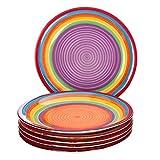 MamboCat 6-TLG. Speisetellerset Ibiza rund kunterbunte Essteller Menü-Teller flach Servier-Geschirr Buffet-Platte Porzellan-Geschirr Regenbogenfarben Rainbow