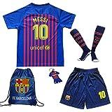MEMENTO 2018/2019 Barcelona #10 Lionel Messi Heim Kinder Fußball Trikot Hose und Socken Kindergrößen (3-4 Jahre)