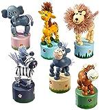 Drücktiere 'Afrika', Drückfigurenset aus Holz, sechs verschiedene Tier-Holzfiguren auf je einem kleinen Holzpodest, 6er Set, Holzspielzeug ab 3 Jahre