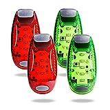TBoonor LED Sicherheitslicht Clip auf Dauerlicht und Blinklicht Running Lichter für Läufer, Jogger, Wanderer, Kinder, Student(2 Rot 2 Grün)