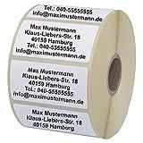 INDIGOS UG Namensaufkleber - Adressetiketten - 40x22 mm - 100 Stück - weiß mit schwarz bedruckt - Haftpapier - Wunschdruck individuell personalisiert
