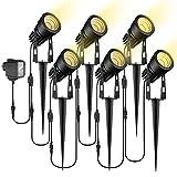 Gartenbeleuchtung, ECOWHO 6er Set Gartenleuchte mit Erdspieß, IP65 Wasserdicht LED Gartenstrahler mit Stecker, Warmweiß Scheinwerfer Gartenlampe Wegbeleuchtung Spot Außenbeleuchtung für Outdoor