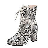 Realde Damen Spitz Lang Stiefel Mode Elegant Schlange Drucken Blockabsatz mit Reißverschluss Schuhe Frühling Herbst Winterstiefelette Knöchelstiefel Warme Stiefeletten