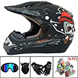 Motocross-Helm Mountainbike Off Road Motorrad Crash Helm Kindergesichtshelm für Erwachsene D.O.T zertifiziert für ATV/MX/BMX/Enduro/MTB(Handschuhe,Brillen,Maske,Aufkleber kostenlos),B,L