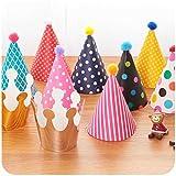 NUOLUX Partyhüte,Geburtstag Party Kegel Hüte mit Pom Poms