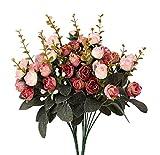 Künstliche Seiden-Blumen mit Stielen und Blättern, Rosen, Hochzeits-Dekoration, Sträuße, 2Stück Pink Coffee