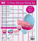 Backformset für Cupcakes und Rundkuchen, Kastenformen, mit Spachtel und Backpinsel, Silikon, 17-teilig