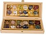 12 Stück echte Edelsteine Set Trommelsteine Heilsteine ca. 30 x 20 mm, alle Steinarten einzeln benannt in edler Holzbox , mit Rosenquarz,Amethyst,Bergkristall Orangencalcit usw.