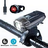 TopCrazy LED Fahrradlicht Set,StVZO Zugelassen USB Wiederaufladbare Fahrradbeleuchtung fahrradlichter Set, IPX4 Wasserdicht Frontlicht Rücklicht Fahrradlampe Set, 600Lumen Licht für Fahrrad