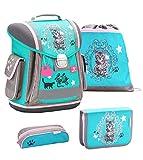 Belmil ergonomischer Schulranzen Groß Set 4-teilig für Mädchen 1, 2, 3, Klasse/Leicht: 950-1000 g/türkis grau Katze, Cat (404-5 Hello)