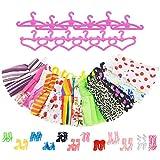 ASIV Fashion 12 Party Urlaubstag Kleidung Kleider, 12 Kleiderbügel, 12 Paar Schuhe Accessoires für Barbie Doll Girl Geschenk (Geburtstag, Party, Weihnachten)