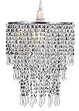 WanEway 3 Stufiger Perlen Decken Kronleuchter Anhänger Lampenschirm mit Acryl Juwelen Tröpfchen, Perlen Lampenschirm mit Chrome Rahmen und klaren Perlen, Durchmesser 22cm, Chrome