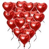20 Stück 18 Zoll Rot Herzballons inkl. 2 m Lametta Folienballons Luftballons Herzform Heliumballons Herzluftballons für Geburtstag Valentinstag Hochzeit Verlobung