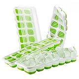 【Upgrade Version】4 Stück Eiswürfelform, TOPELEK Silikon Eiswuerfel Form Eiswuerfelbehaelter Mit Deckel Ice Tray Ice Cube 14-Fach , Kühl Aufbewahren, LFGB Zertifiziert, Green