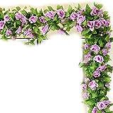 Natural Home 245cm Efeu Girlande Efeubusch Efeugirlande Efeuranke künstliche Kunstpflanze hängend Blätter (Violett, 2er Pack)