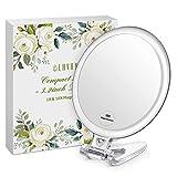 LAVANY Makeup Kosmetikspiegel 3,2 inch Zweiseitiger Schminkspiegel Kompakt-Reisespiegel mit 1X/10X Vergrößerung für den Hand-, Stand- oder Wand-Einsatz, S (Ohne LED)
