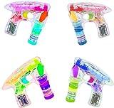4 Stück Bubble Gun SET Seifenblasenpistole Mit 4 LED und Sound Hochzeit Seifenblasenmaschine Pistole Seifenblasenflüssigkeit