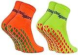 Rainbow Socks - Damen Herren Neon Sneaker Sport Stoppersocken - 2 Paar - Orange Grün - Größen: EU 36-38