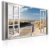 murando Bilder Fensterblick 120x80 cm - Leinwandbilder - Fertig Aufgespannt - Vlies Leinwand - 1 Teilig - Wandbilder XXL - Kunstdrucke - Wandbild - Fenster Insel Meer See Strand Himmel a c-C-0179-b-a