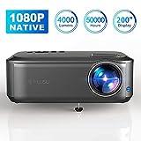 Beamer Full HD 1080P Native, 4000 Lumen Max 200' Zoll LED LCD Video Projektor mit Presenter kompatibel mit HDMI / VGA / Y.Pb.Pr/ AV / USB für Office Powerpoint Präsentationen Heimkino